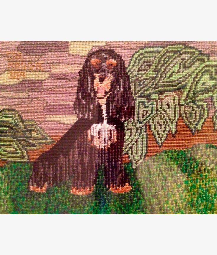 Photo of dog thread art