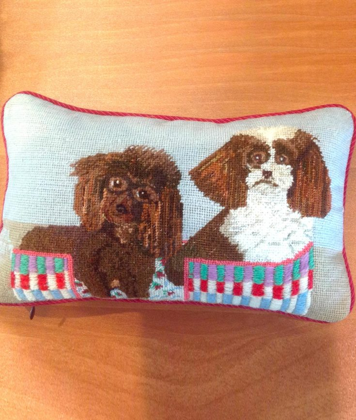 Photo of two dogs on a pillow artwork