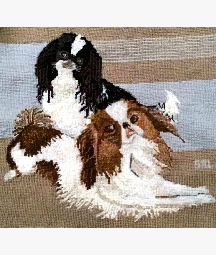 Photo of two dogs thread art