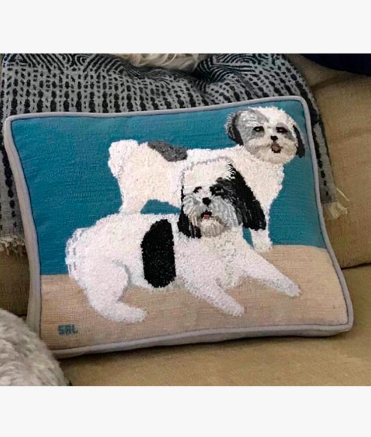 Photo of two dogs on pillow thread art