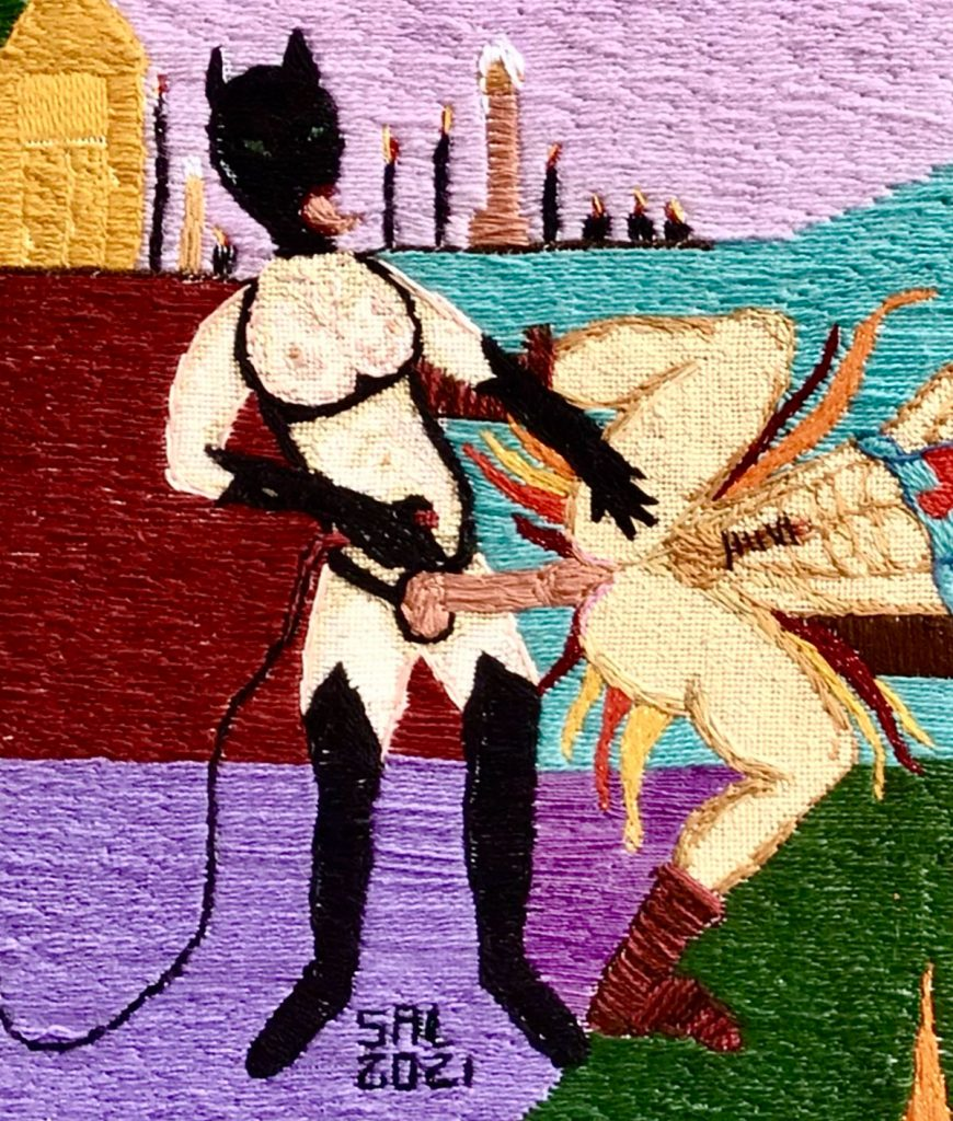 Cat Woman Does He Man Thread Painting