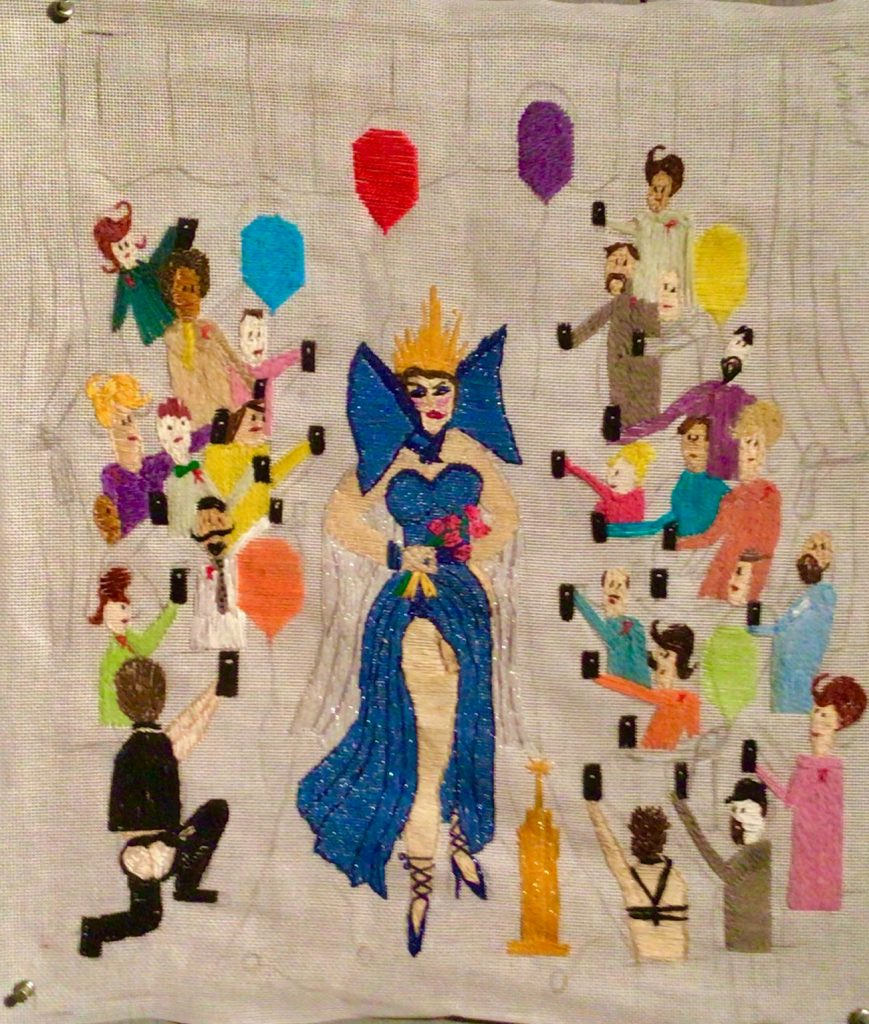 Progress of We Celebrate Drag Thread Painting