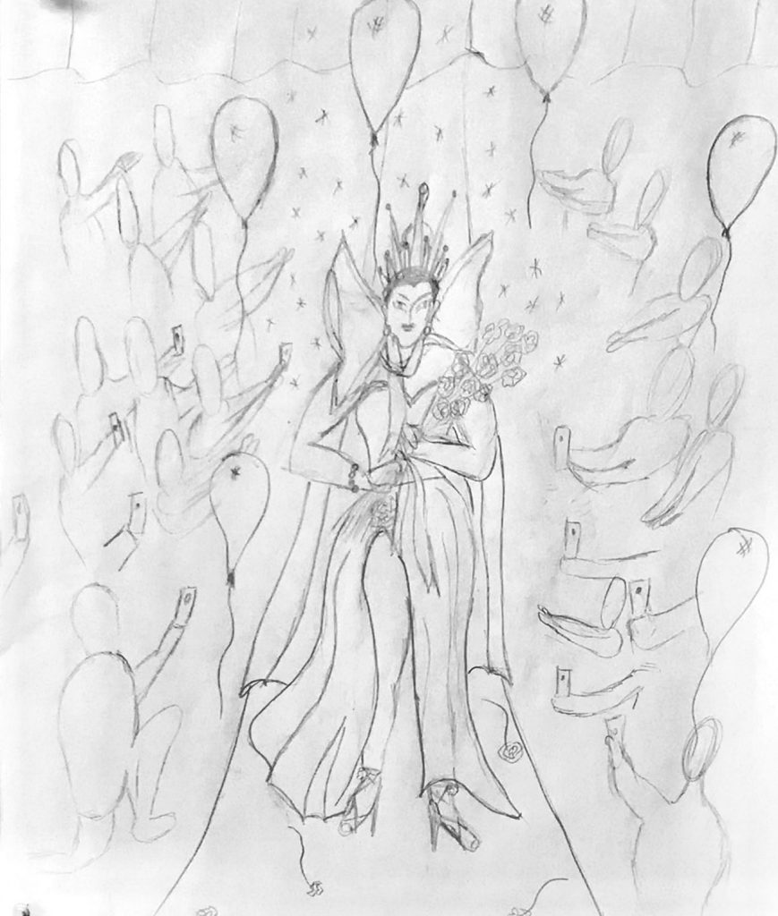 Sketch of We Celebrate Drag Thread Painting