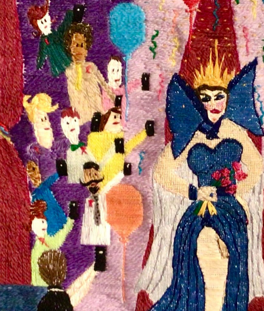 Close up of We Celebrate Drag Thread Painting
