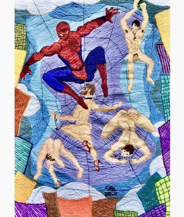 Caught in His Web Painting